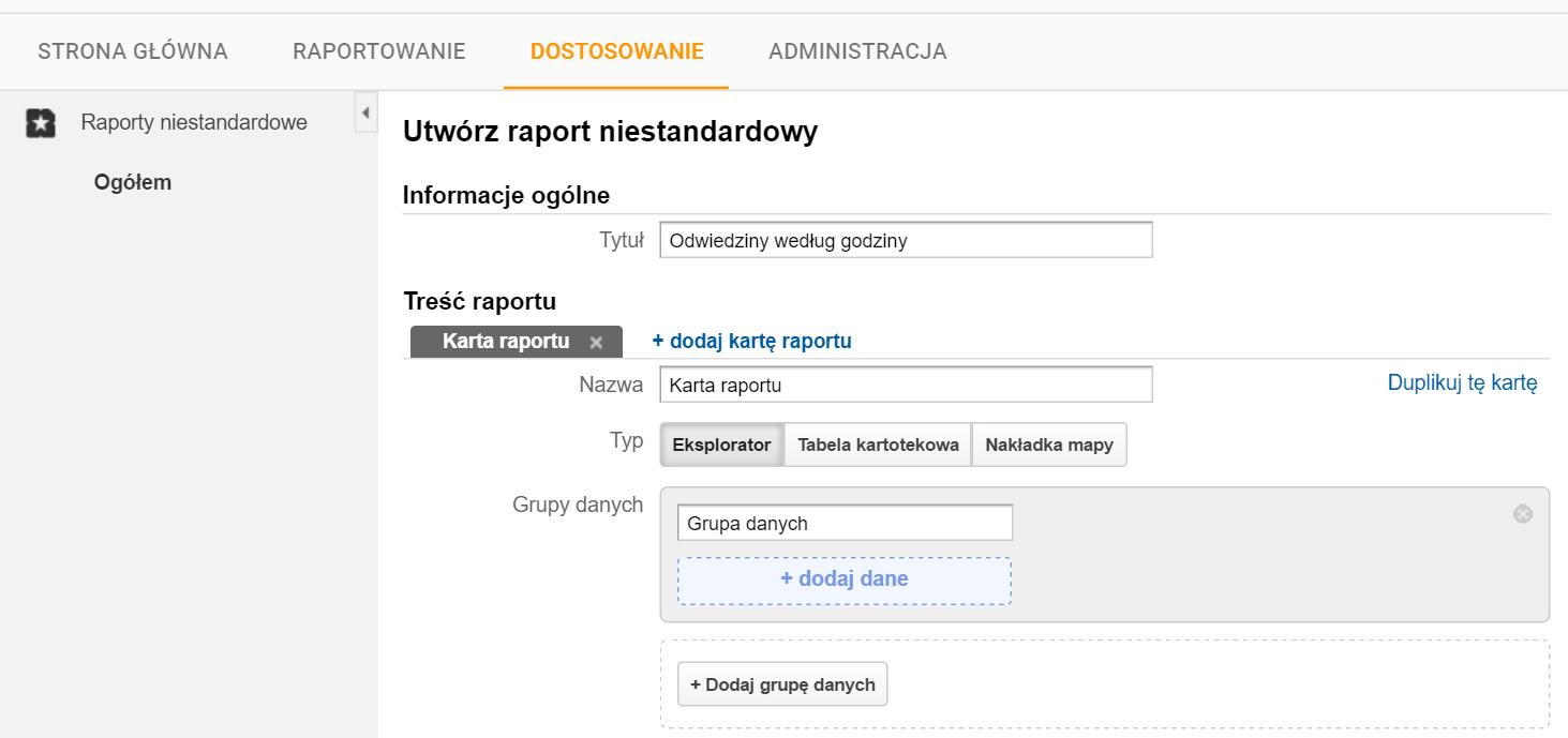 otwórz raport niestandardowy