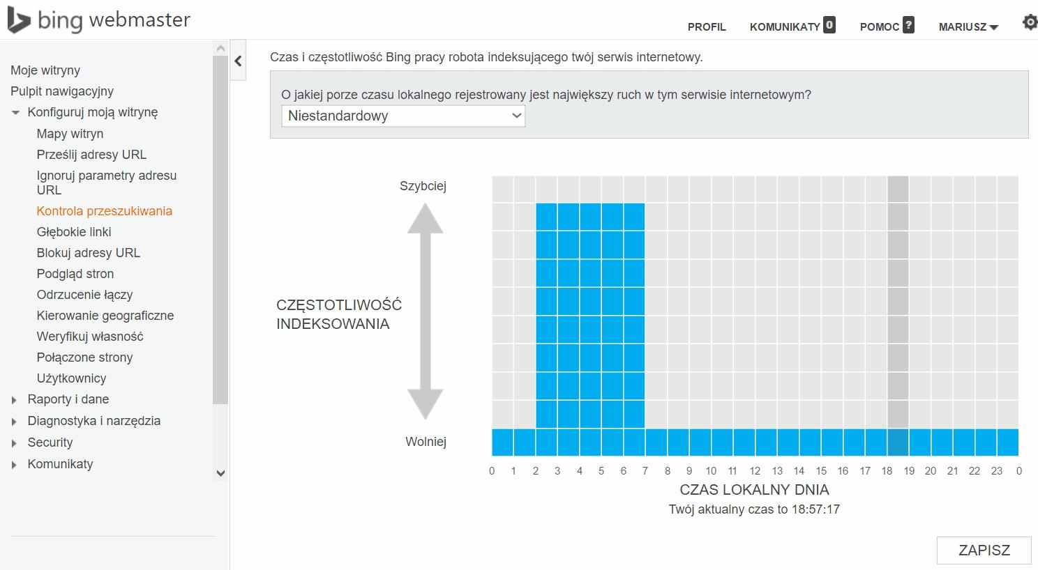bing szybkość indeksowania