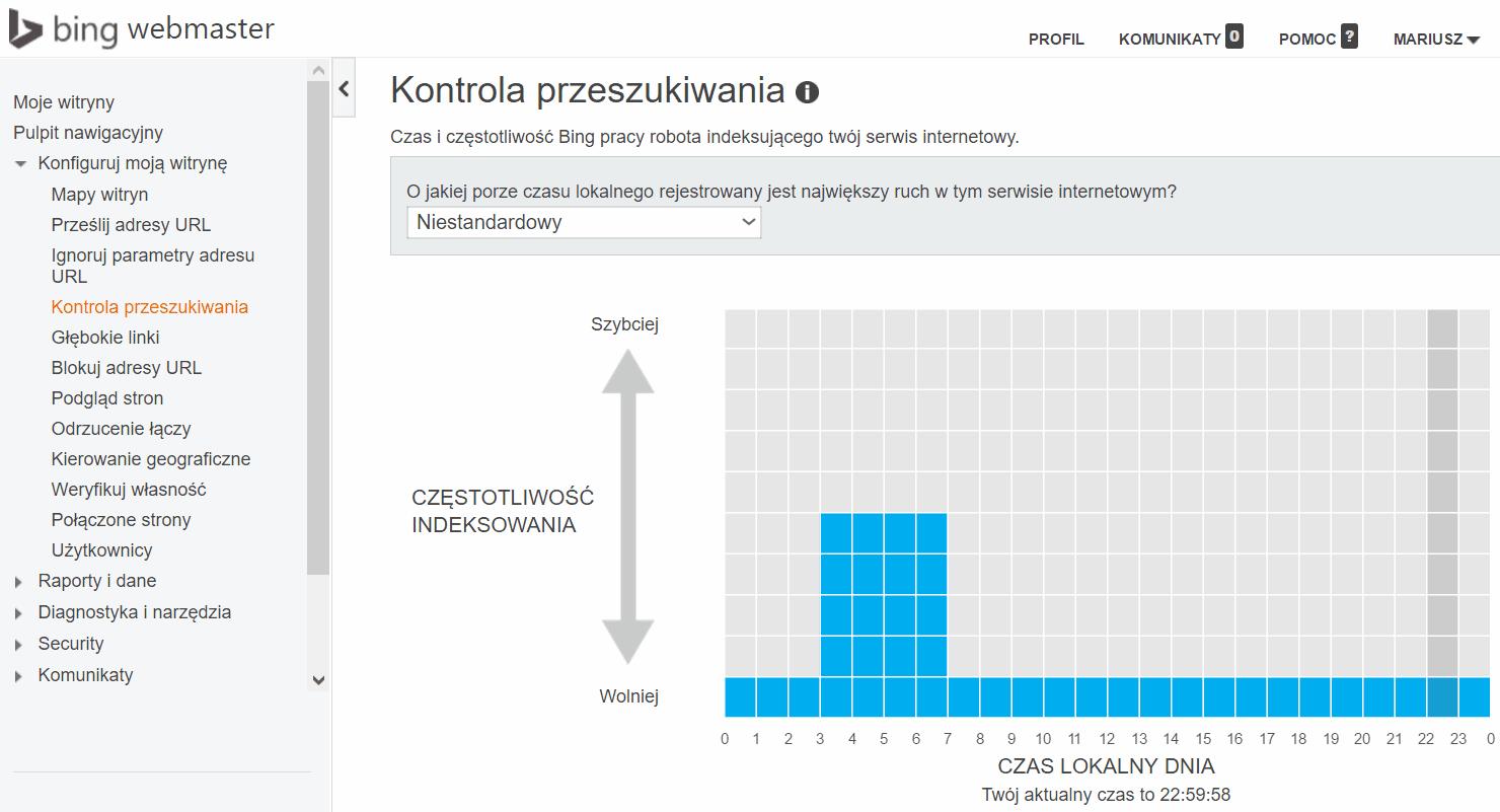 Kontrola przeszukiwania - Bing