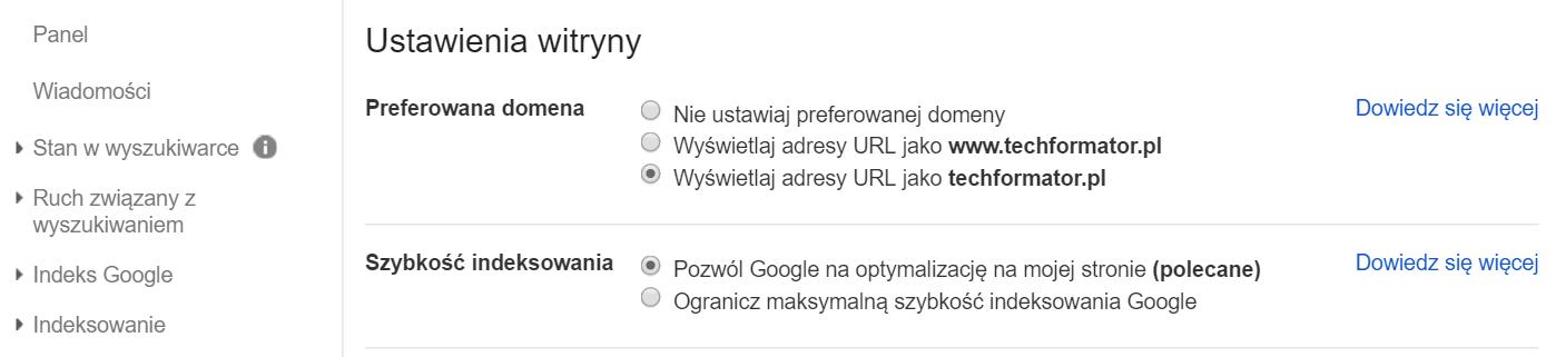 Ustawienia witryny - Google Search Console
