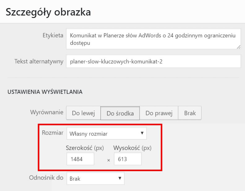 Własny rozmiar obrazka w WordPress