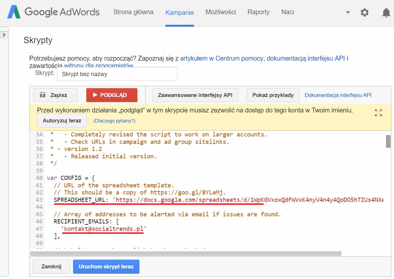 adwords link checker konfiguracja