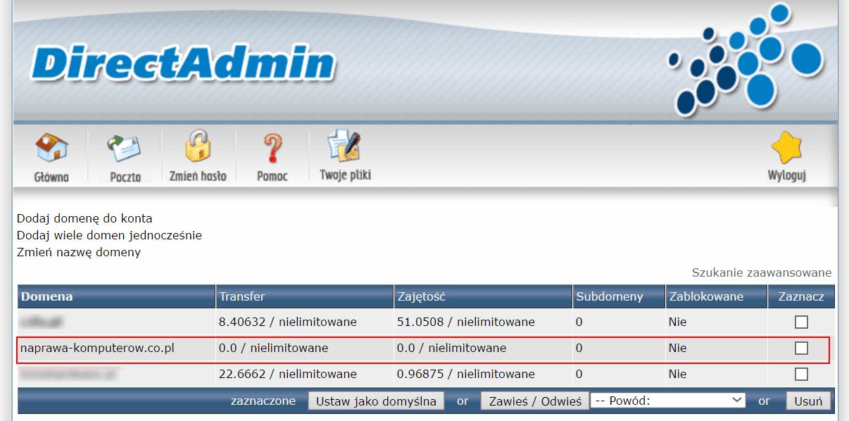 Direct Admin - Lista domen