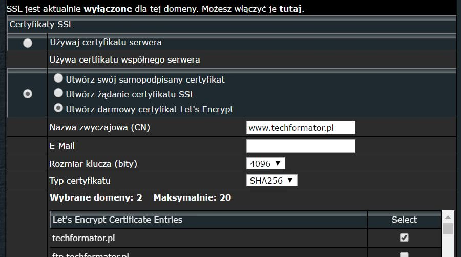 Darmowy certyfikat Let's Encrypt - Hosting Unixstorm