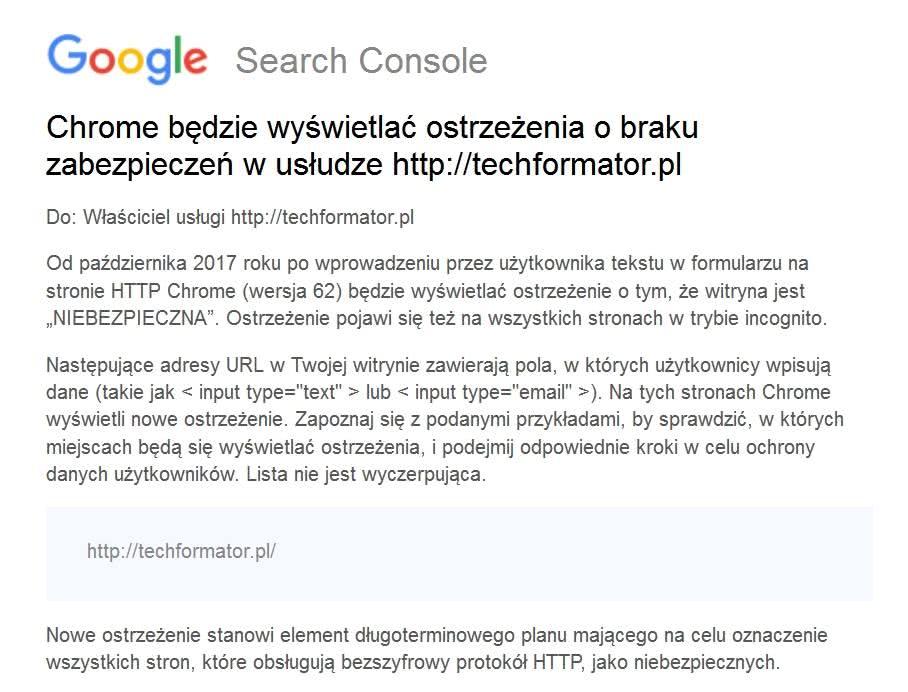 Google Search Console - komunikat
