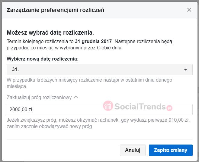 Próg płatności na Facebooku