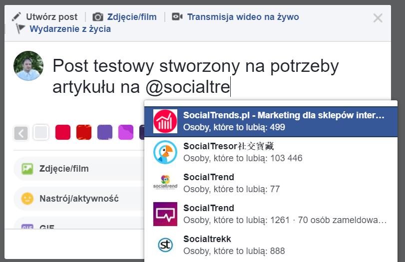wspominanie facebook - wybór profilu