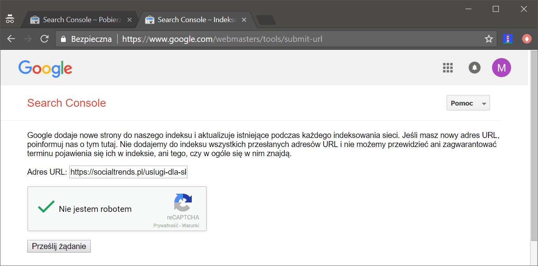 Indeksowanie adresu URL
