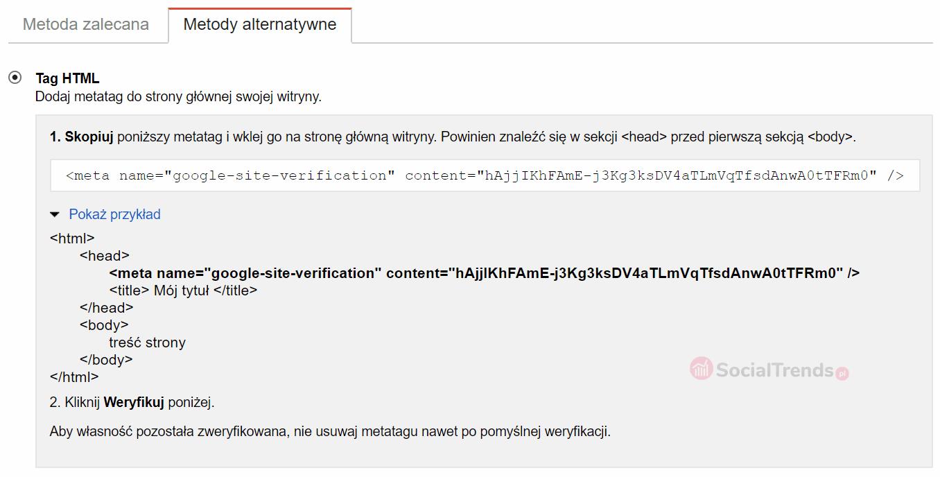 Weryfikacja strony meta-tagiem HTML