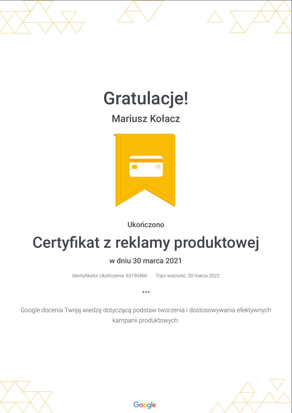 Certyfikat Google z reklamy produktowej
