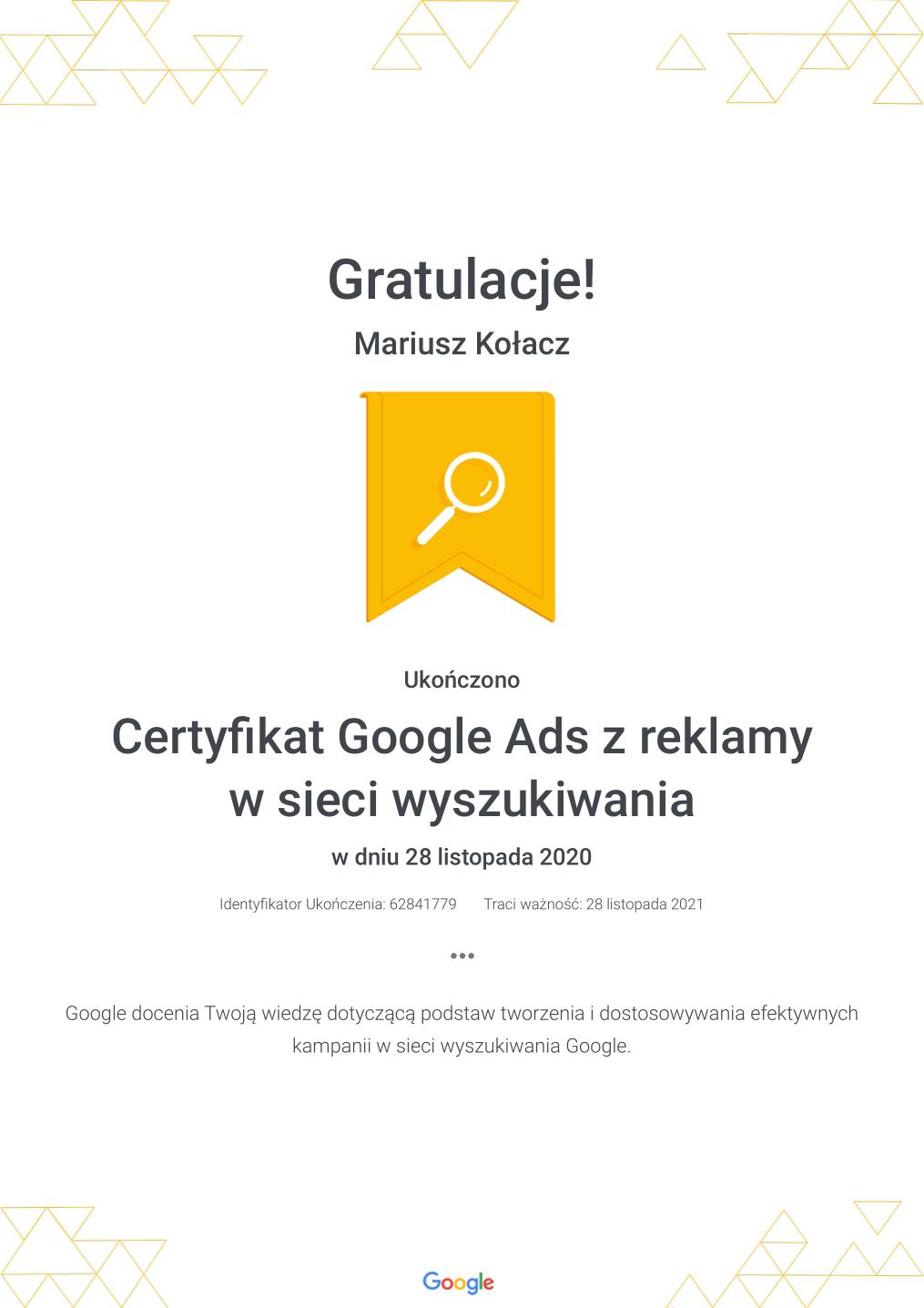 Certyfikat Google Ads z reklamy w sieci wyszukiwania