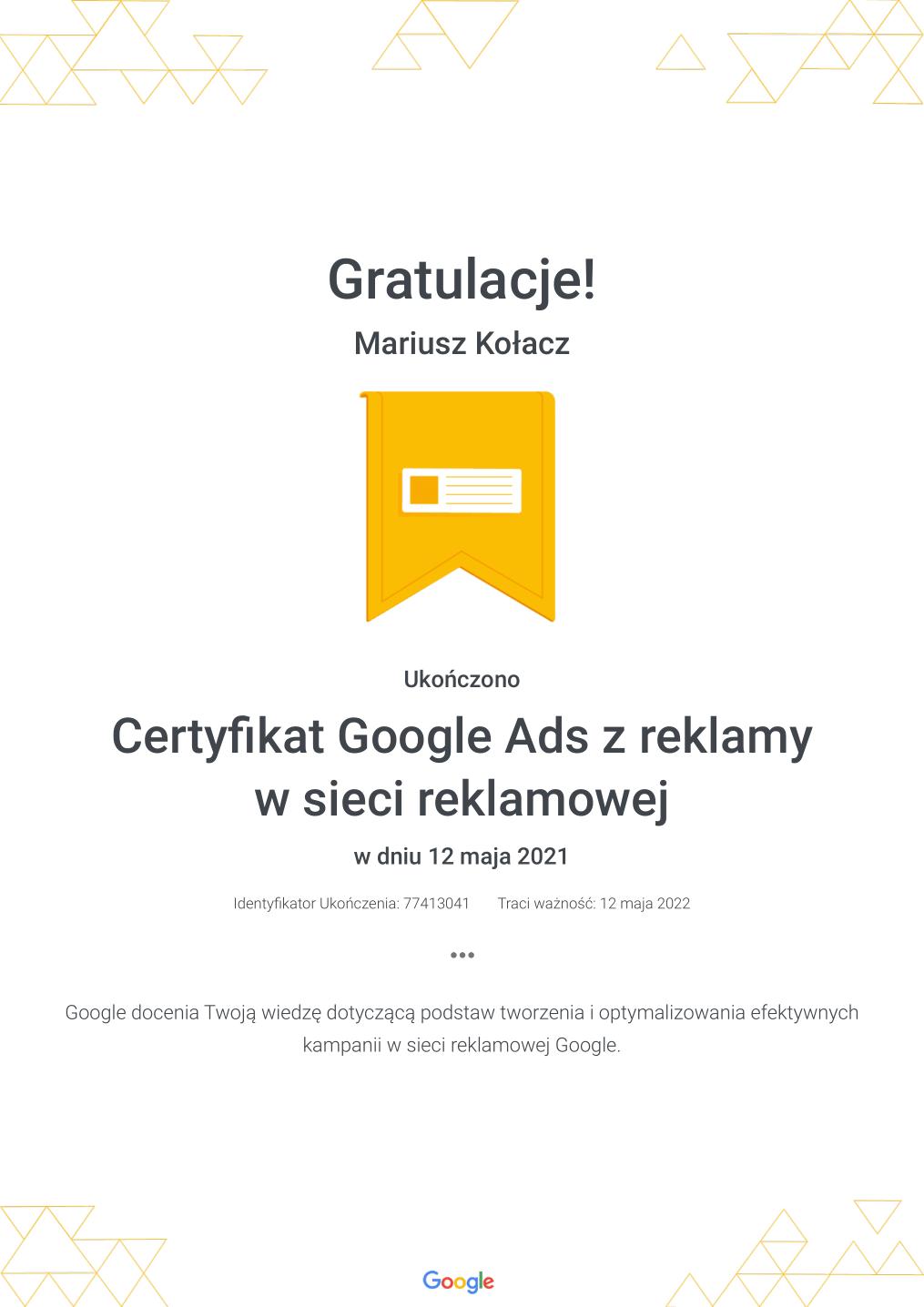 Certyfikat Google Ads z reklamy w sieci reklamowej